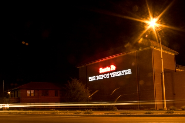 The Depot Theater at night.