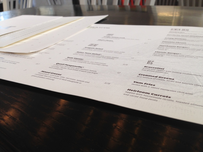 One menu for food. One menu for cocktails, wine, and spirits. One menu for beer. We're in heaven.